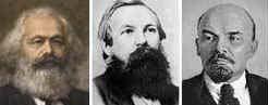 Marx, Engels y Lenin.